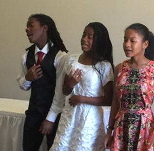 2016 Tech Trekker Adia Niara Luke and her siblings sing at the AAUW AV Installation Lunch June 11, 2016